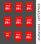 set of red sale icon banners in ... | Shutterstock .eps vector #1257297613