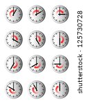 nine watches with hourly time... | Shutterstock . vector #125730728