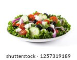 fresh greek salad in plate with ...   Shutterstock . vector #1257319189