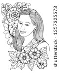vector coloring page. beautiful ... | Shutterstock .eps vector #1257325573