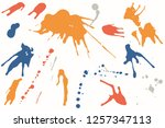 hand drawn set of colorful ink... | Shutterstock .eps vector #1257347113