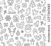 seamless pattern with christmas....   Shutterstock .eps vector #1257365683