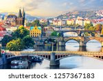 manes bridge and charles bridge ... | Shutterstock . vector #1257367183