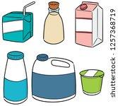vector set of milk product | Shutterstock .eps vector #1257368719