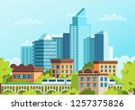 windows of houses in a big city.... | Shutterstock .eps vector #1257375826