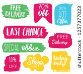 set of sale labels. hand drawn... | Shutterstock .eps vector #1257377023