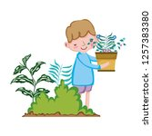 little boy lifting houseplant... | Shutterstock .eps vector #1257383380