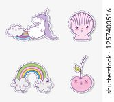 set cute unicorn with kawaii... | Shutterstock .eps vector #1257403516