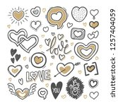 hand drawn set of love doodles... | Shutterstock .eps vector #1257404059