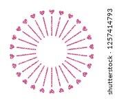 heart frame. cute pink glitter. ... | Shutterstock .eps vector #1257414793
