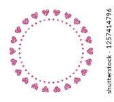 heart frame. cute pink glitter. ... | Shutterstock .eps vector #1257414796
