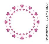 heart frame. cute pink glitter. ... | Shutterstock .eps vector #1257414820
