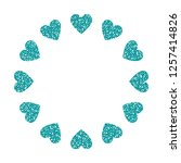 heart frame. cute turquoise... | Shutterstock .eps vector #1257414826