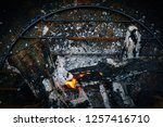 the flame of fire burns in the... | Shutterstock . vector #1257416710