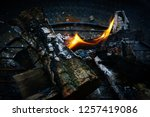 the flame of fire burns in the... | Shutterstock . vector #1257419086