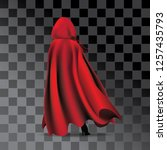 woman wearing a red cloak and... | Shutterstock .eps vector #1257435793