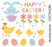 a cute colorful easter... | Shutterstock .eps vector #125744180