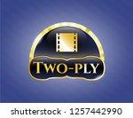 gold badge or emblem with film ... | Shutterstock .eps vector #1257442990