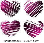 set of four grunge hearts in...