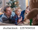 happy family with a child spend ... | Shutterstock . vector #1257454510