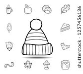 warm hat  icon. simple outline...
