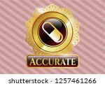 golden emblem with pill icon... | Shutterstock .eps vector #1257461266