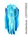 dreamcatcher with feathers    ... | Shutterstock . vector #1257470023