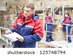 warehouse three workers   one... | Shutterstock . vector #125748794