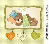 cute teddy bear sleeps on... | Shutterstock .eps vector #125752913