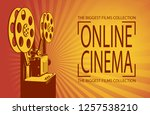 online cinema poster with retro ... | Shutterstock .eps vector #1257538210