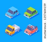 isometric vehicles. flat car... | Shutterstock .eps vector #1257604159