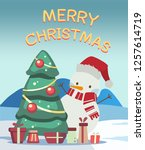 happy snowman with christmas... | Shutterstock .eps vector #1257614719