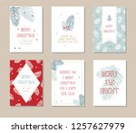 holiday card set with simple... | Shutterstock .eps vector #1257627979