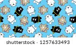 bear seamless pattern vector... | Shutterstock .eps vector #1257633493