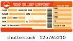 boarding pass. red flight... | Shutterstock .eps vector #125765210