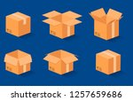 vector set. flat cardboard box  ... | Shutterstock .eps vector #1257659686