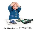 one small little girl with set... | Shutterstock . vector #125766920