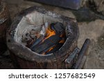 stove charcoal.orange flames of ... | Shutterstock . vector #1257682549