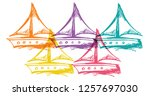 cute rainbow color set... | Shutterstock .eps vector #1257697030