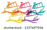 cute rainbow color set... | Shutterstock .eps vector #1257697036
