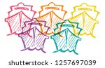 cute rainbow color set... | Shutterstock .eps vector #1257697039