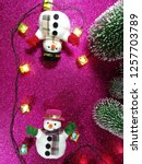 lovely snowman with christmas...   Shutterstock . vector #1257703789