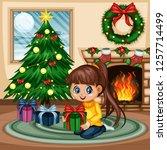 christmas scene at home. cute... | Shutterstock .eps vector #1257714499