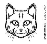 hand drawn head of cat  vector... | Shutterstock .eps vector #125772914