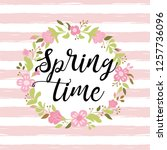 floral wreath on pink striped... | Shutterstock .eps vector #1257736096
