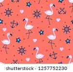 seamless pattern with flamingos ... | Shutterstock .eps vector #1257752230