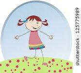 little girl running around the... | Shutterstock .eps vector #125775989