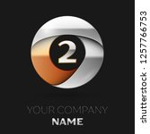 realistic silver number two... | Shutterstock . vector #1257766753