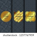 golden vintage pattern on dark... | Shutterstock .eps vector #1257767959
