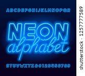 neon tube alphabet font. neon... | Shutterstock .eps vector #1257777589